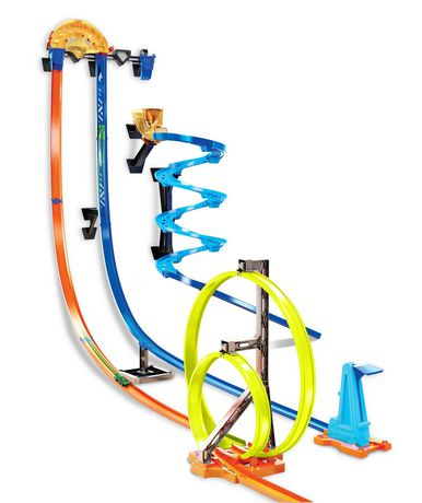 Multi-coloured Hot Wheels track set with loops and twists