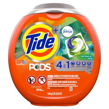 Tide PODS™ Plus Febreze™ Laundry Detergent Pacs, Botanical Rain Scent, 54-count tub - image 1 of 6