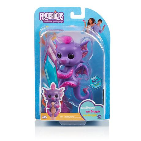 Fingerlings - Glitter Dragon - Kaylin (Purple with Pink) - Interactive Baby Collectible Pet - By WowWee - image 4 of 4
