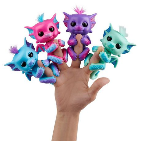 Fingerlings - Glitter Dragon - Kaylin (Purple with Pink) - Interactive Baby Collectible Pet - By WowWee - image 3 of 4