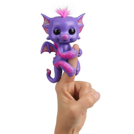 Fingerlings - Glitter Dragon - Kaylin (Purple with Pink) - Interactive Baby Collectible Pet - By WowWee - image 1 of 4