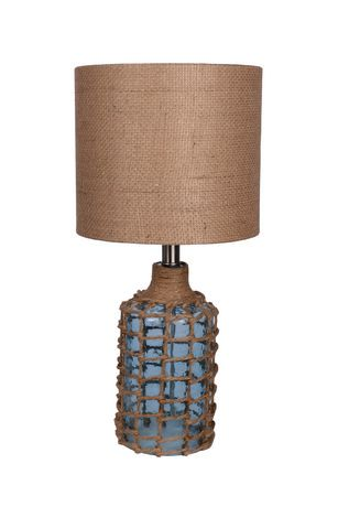 Hometrends rope blue glass table lamp natural linen burlap uno hometrends rope blue glass table lamp natural linen burlap uno shade walmart canada mozeypictures Gallery