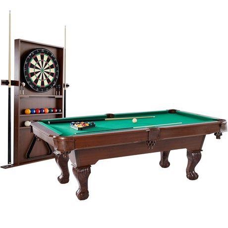 Table de billard en bois et bois avec pieds en griffe et plateau en feutre vert, de Medal Sports