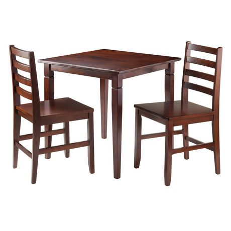 Winsome Kingsgate 3-Piece Dinning Table with 2 Hamilton Ladder Back Chairs - 94363 - image 1 of 2