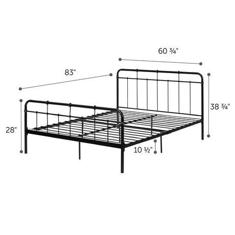 Plenny Grand Lit plateforme complet en métal, Noir de Meubles South Shore - image 3 de 3