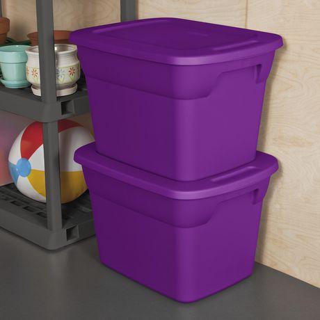 Sterilite 68L Tote- Purple- 8PK - image 2 of 3