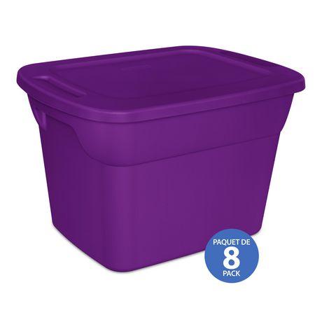 Sterilite 68L Tote- Purple- 8PK - image 1 of 3