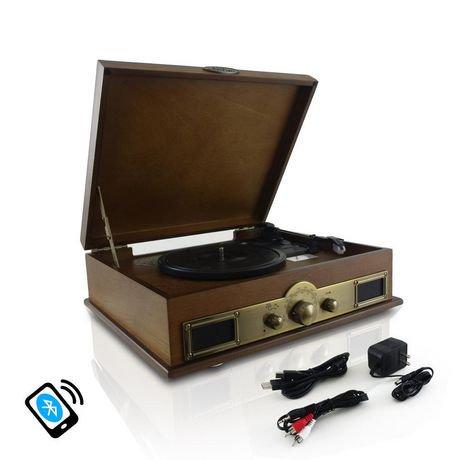 pyle platine tourne disque bluetooth vintage avec enregistrement mp3 num rique bois walmart. Black Bedroom Furniture Sets. Home Design Ideas