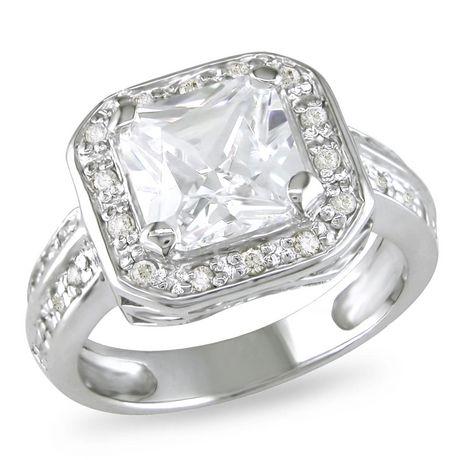 Miabella Bague de fiançailles avec zircon cubique blanc 5 3/5 ct en argent - image 1 de 8
