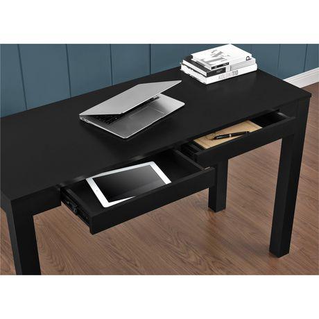 Grand bureau Parsons avec 2 tiroirs, gris - image 4 de 5