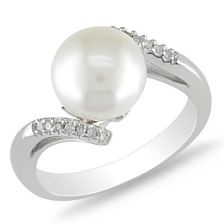 Miabella Bague avec perle d'eau douce cultivées blanche 9-9,5 mm et diamant 0,06 ct en argent - image 7 de 9