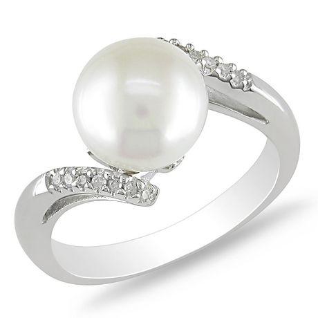 Miabella Bague avec perle d'eau douce cultivées blanche 9-9,5 mm et diamant 0,06 ct en argent - image 1 de 9