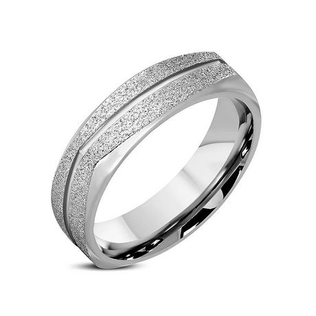 Pure316 Men's 7 mm Sandblasted Diagonal Grooved Comfort Fit Cushion Band Ring - image 1 of 2