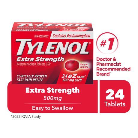 Tylenol® Extra Strength 500mg EZTABS®, 24 Count - image 1 of 6