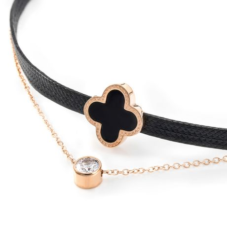 Pure316 - Women's Black Clover Rose Gold Plated Bangle - image 1 of 4