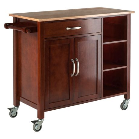kitchen islands carts winsome mabel kitchen cart walnut 94843 walmart ca 13587