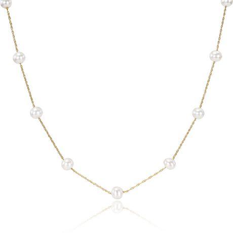 Miabella Collier de 17 pouces à perles d'eau douce cultivées 5,5-6mm en or jaune 10 K - image 1 de 1