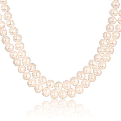 Miabella Collier avec perle d'eau douce 9-10 mm à deux rangées, 17 et 18 pouces en longueur - image 1 de 1