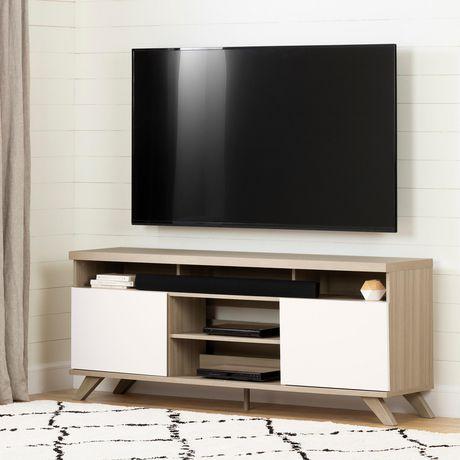 Cinati Meuble Tv Avec Portes Orme Naturel Et Blanc De Meubles South Shore