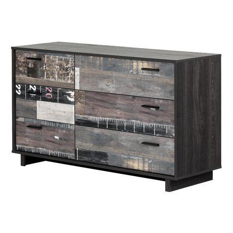 Bureau double 6 tiroirs Fynn, Chêne gris et effet planches industrielles de Meubles South Shore - image 1 de 8