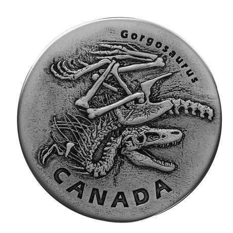 1 oz  Pure Silver Coin - Ancient Canada: Gorgosaurus - Royal