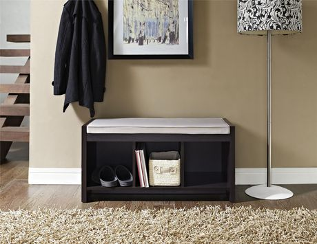 Penelope Entryway Storage Bench with Cushion, Espresso - image 2 of 8