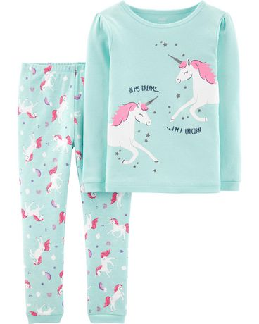 Two-piece set of green and white unicorn-themed girls pajamas from Child of Mine made by Carter's