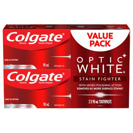 Colgate Optic White Stain Fighter Teeth Whitening Toothpaste, Clean Mint Paste – 90 mL (2 Pack) - image 1 of 5