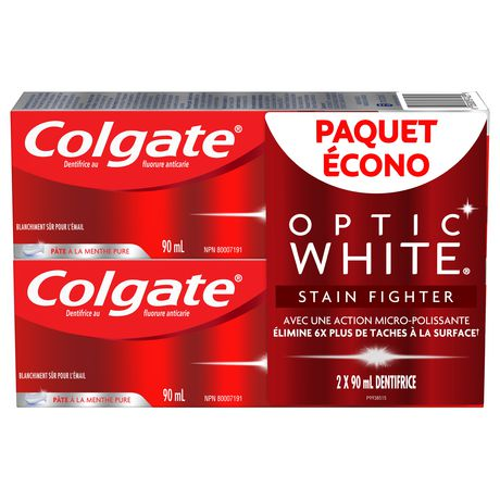 Colgate Optic White Stain Fighter Teeth Whitening Toothpaste, Clean Mint Paste – 90 mL (2 Pack) - image 5 of 5