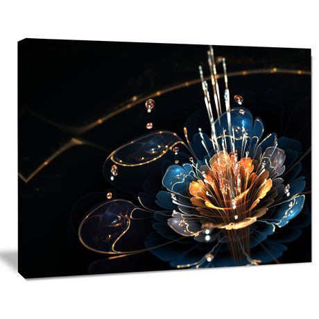 Design Art Orange Blue Flower with Water Drops Floral Digital Art Canvas Print - image 2 of 3