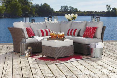 hometrends Rushreed 3-Piece Wicker Sectional Sofa Patio Set - image 2 of 8