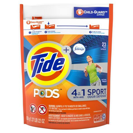 Tide PODS plus Febreze, Sport Odor Defense Laundry Pacs, ACTIVE Fresh Scent, 23 Count, Designed for Regular And HE Washers - image 1 of 8