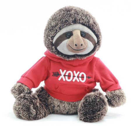Way to celebrate!  Valentine 15 Inch Lovable Stuffed Plush Sloth With Hoodie - image 1 of 3