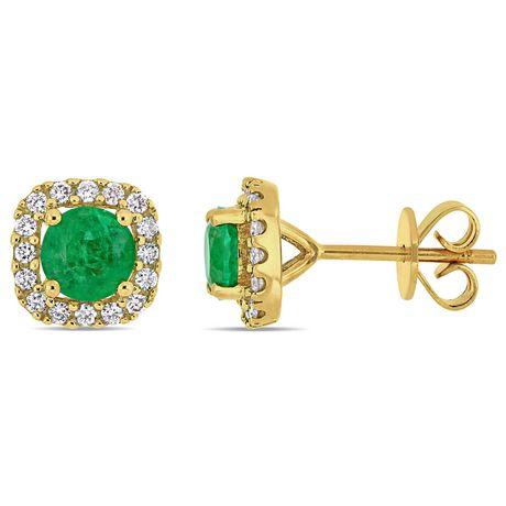 Miabella 4/5 Carat T.G.W. Emerald and 1/4 Carat T.W. Diamond 14K Yellow Gold Halo Stud Earrings - image 1 of 3