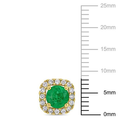 Miabella 4/5 Carat T.G.W. Emerald and 1/4 Carat T.W. Diamond 14K Yellow Gold Halo Stud Earrings - image 2 of 3
