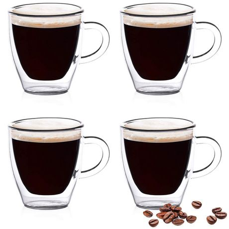 Epare 2 oz. Double-Wall Espresso Cups with Handle (Set of ...