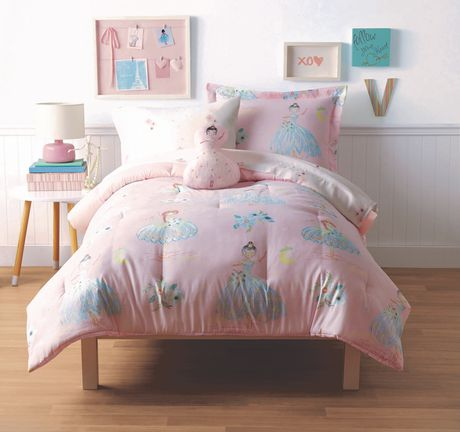 Pink and white ballerina-patterned bed in a bag set from Mainstays Kids