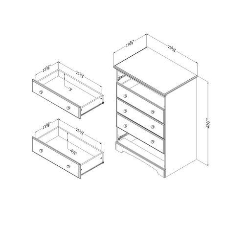 Commode 5 tiroirs South Shore, collection Summer Time, fini érable naturel et blanc solide - image 3 de 4