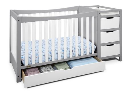 Lit de b b transformable et table langer 4 en 1 remi de - Lit de bebe avec table a langer integree ...