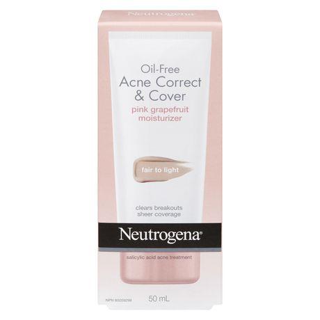 NEUTROGENA® Oil Free Acne Correct & Cover Pink Grapefruit Moisturizer - Fair to Light - image 1 of 1