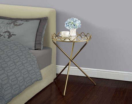 hometrends Table décorative dorée avec plateau en miroir marbré - image 1 de 1