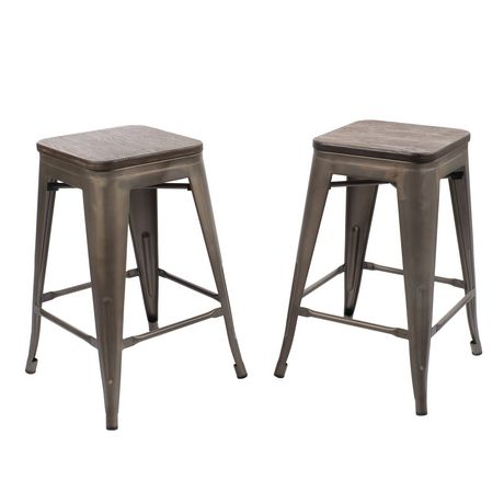 Primo International Felix 24 Wood And Metal Bar Stools Walmart Canada