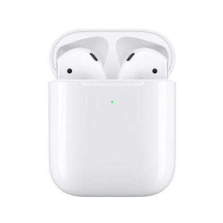 White AirPods peeking out of a white wireless charging case