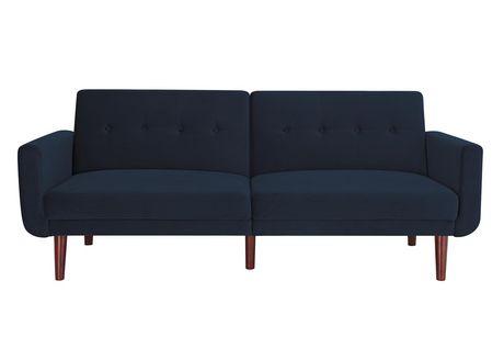 Nola Modern Futon, Grey Velvet - image 2 of 9