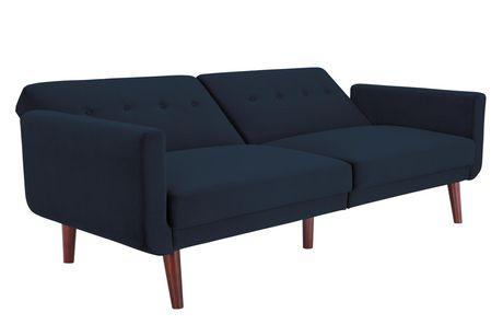 Nola Modern Futon, Grey Velvet - image 4 of 9