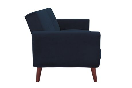 Nola Modern Futon, Grey Velvet - image 7 of 9