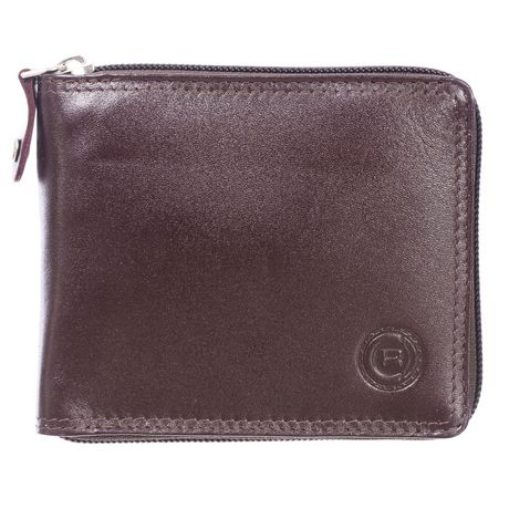 Black leather Club Rochelier wallet with stitched logo in the corner