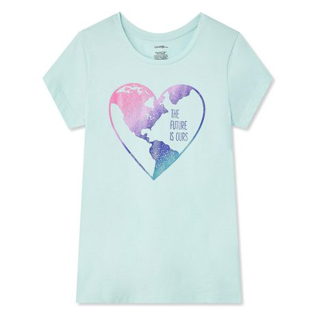 Pale green t-shirt with heart graphic on front containing world map and