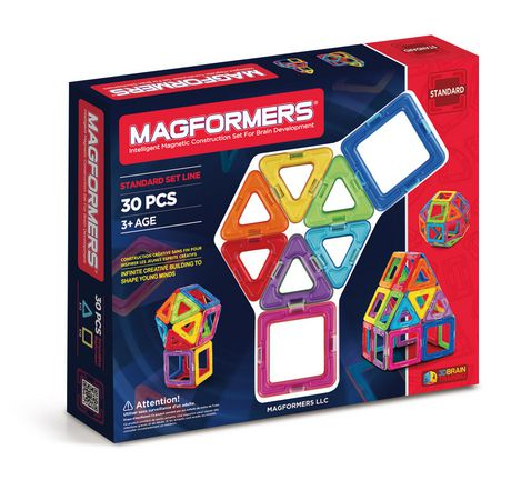 Red and blue box from Magformers containing 30 magnetic construction set pieces