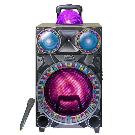 haut parleur portatif amplifi de 10 po totalisant 1 800 w avec boule disco top tech audio. Black Bedroom Furniture Sets. Home Design Ideas